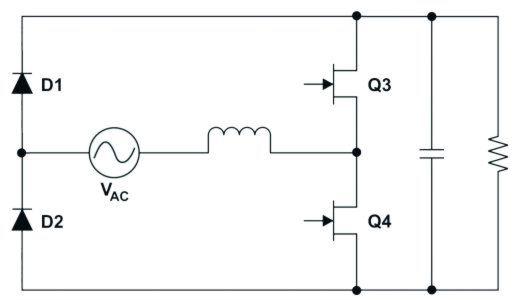 Bild 1: Totem-Pole-PFC-Schaltung mit GaN-FETs und Netzgleichrichter ...