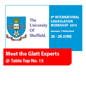 Meet the Glatt Experts @ 9th International Granulation Workshop 2019